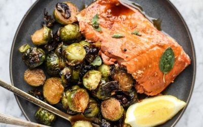 Maple Mustard Salmon with Roasted Brussel Sprouts